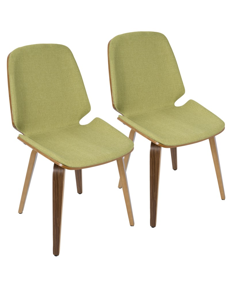 Serena Mid-Century Modern Dining Chair in Walnut with Green Fabric - Set of 2