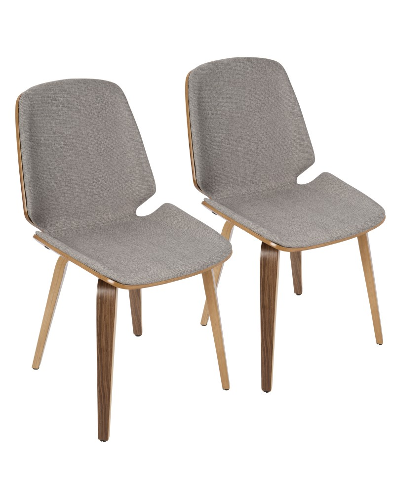 Serena Mid-Century Modern Dining Chair in Walnut with Light Grey Fabric - Set of 2