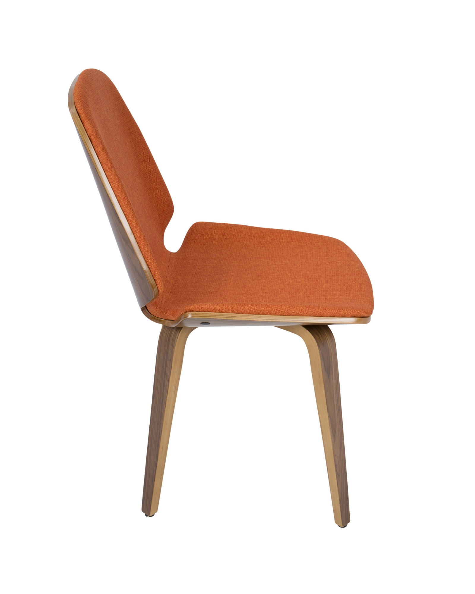 Serena Mid-Century Modern Dining Chair in Walnut with Orange Fabric - Set of 2