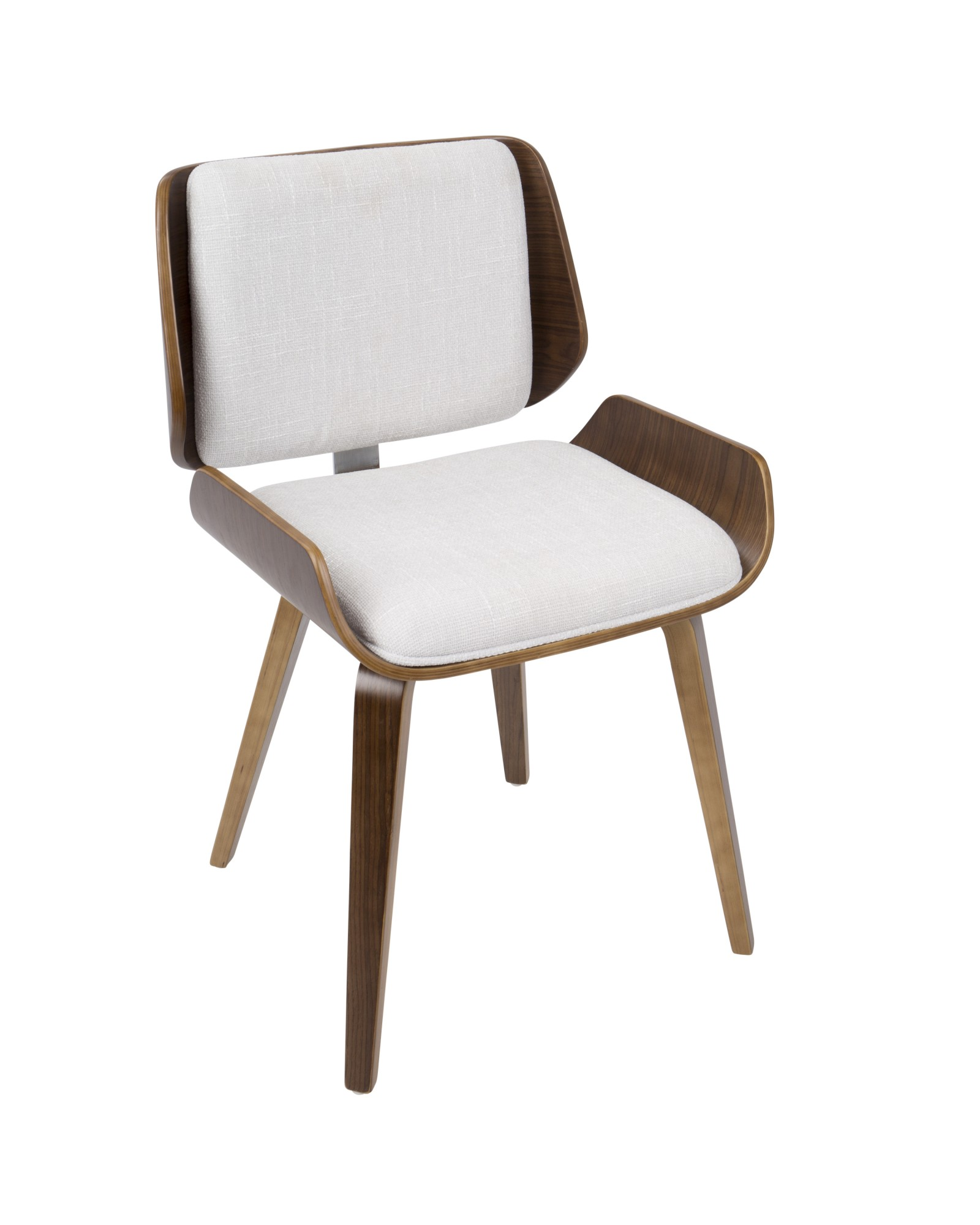 Santi Mid-Century Modern Dining/Accent Chair in Walnut with Light Grey Fabric - Set of 2