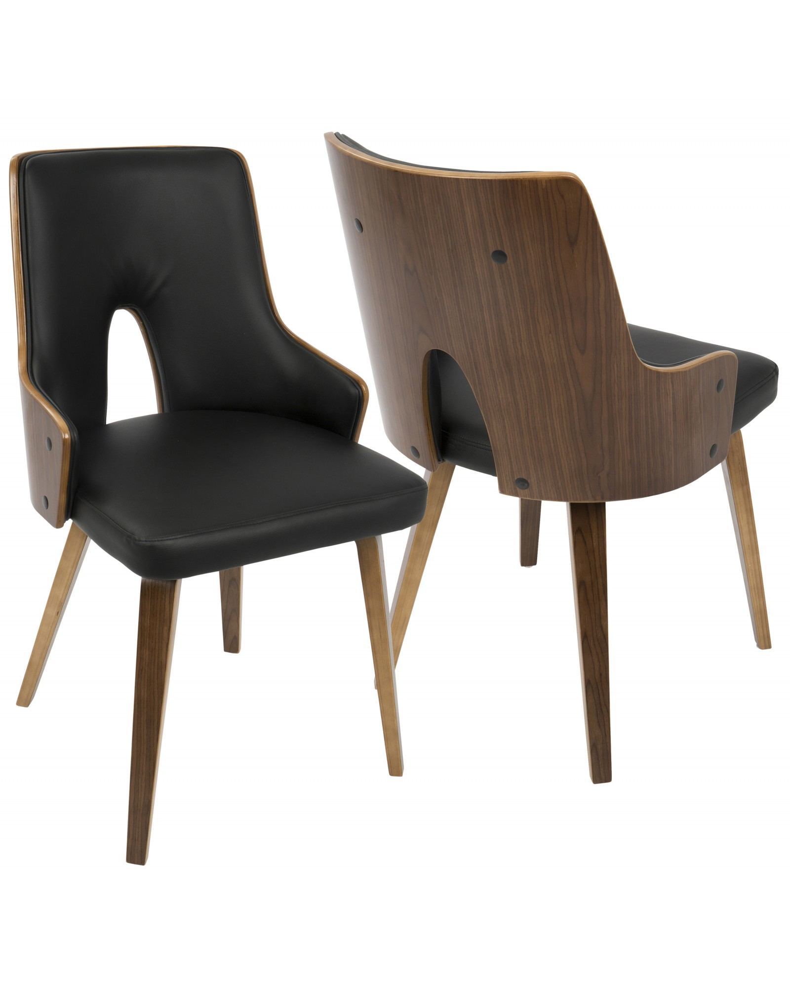 Stella Mid-Century Modern Dining/Accent Chair in Walnut with Black Faux Leather - Set of 2