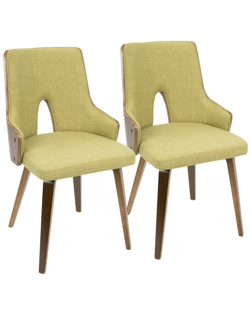 Stella Mid-Century Modern Dining/Accent Chair in Walnut with Green Fabric - Set of 2