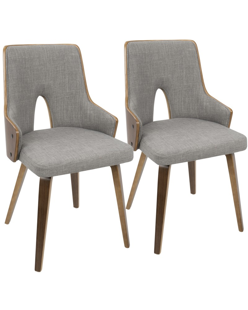 Stella Mid-Century Modern Dining/Accent Chair in Walnut with Light Grey Fabric - Set of 2