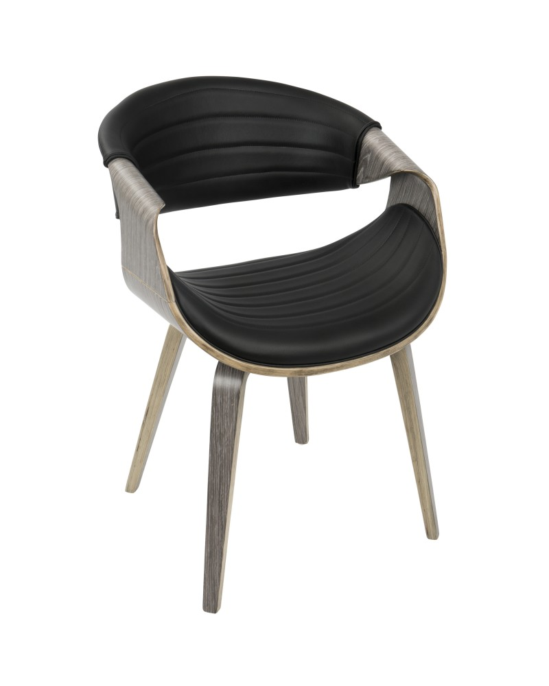 Symphony Mid-Century Modern Dining/Accent Chair in Light Grey Wood and Black Faux Leather