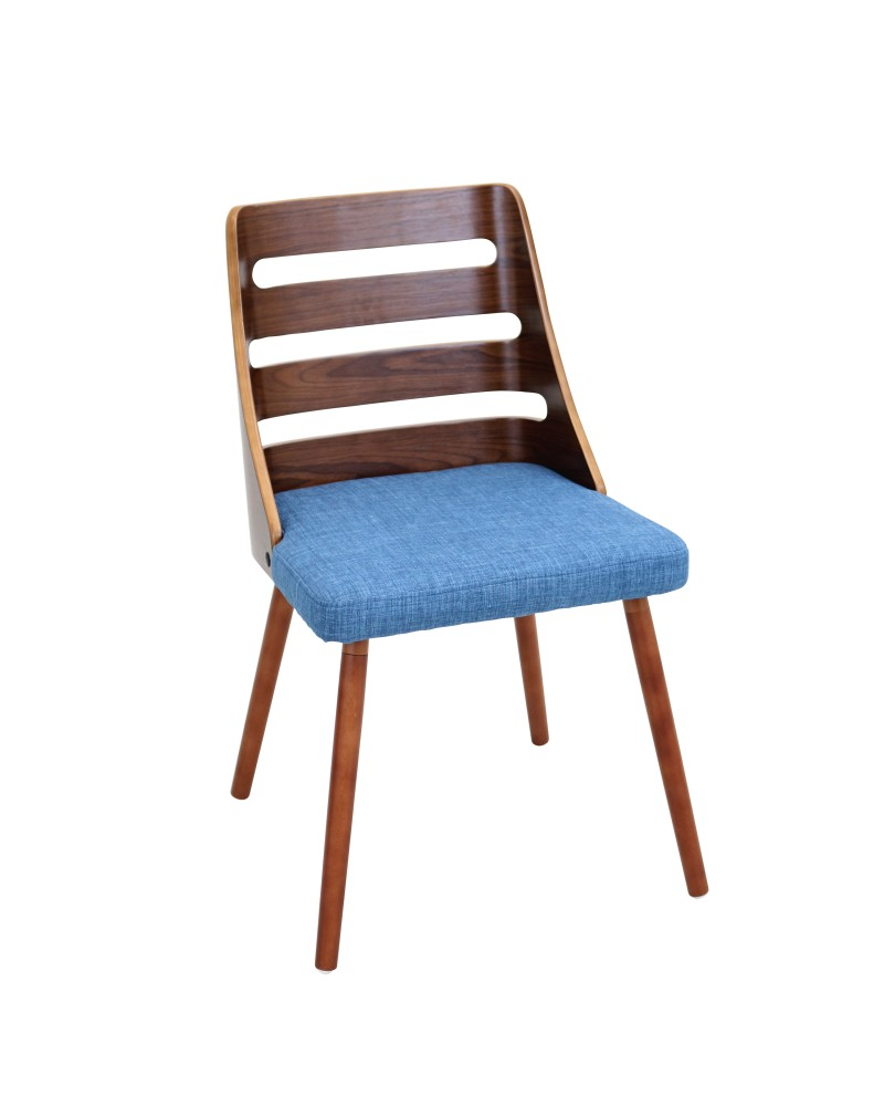 Trevi Mid-Century Modern Dining/Accent Chair in Walnut with Blue Fabric