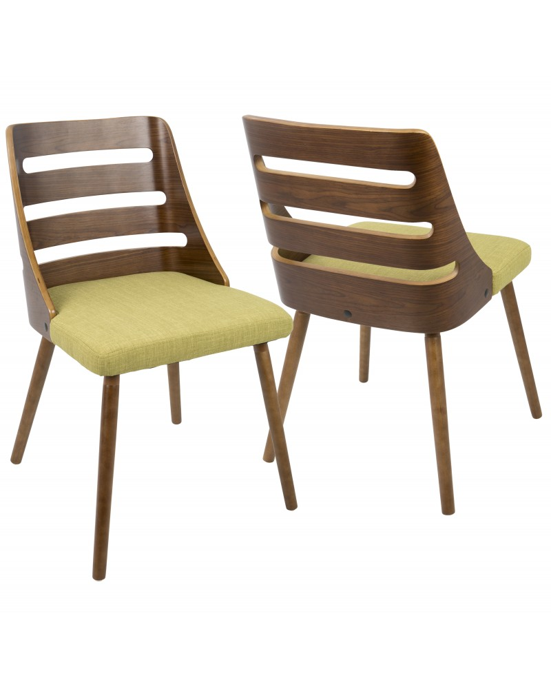 Trevi Mid-Century Modern Dining/Accent Chair in Walnut with Green Fabric