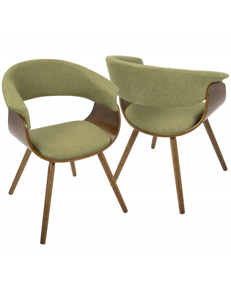 Vintage Mod Mid-Century Modern Chair in Walnut and Green Fabric