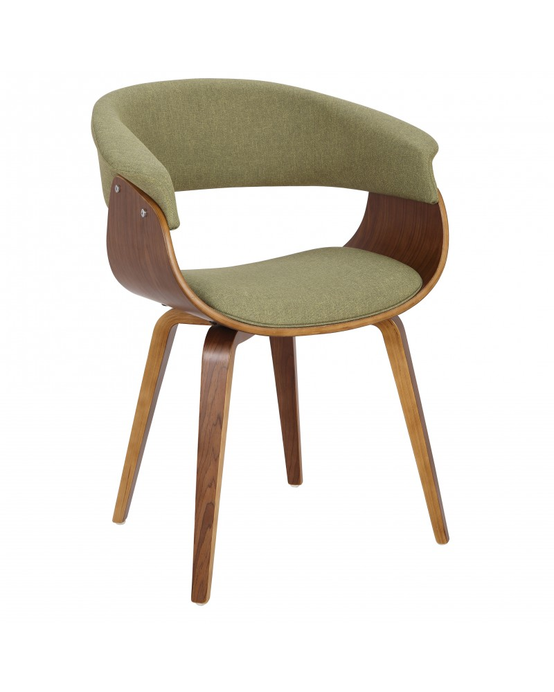 Vintage Mod Mid-Century Modern Dining/Accent Chair in Walnut and Green