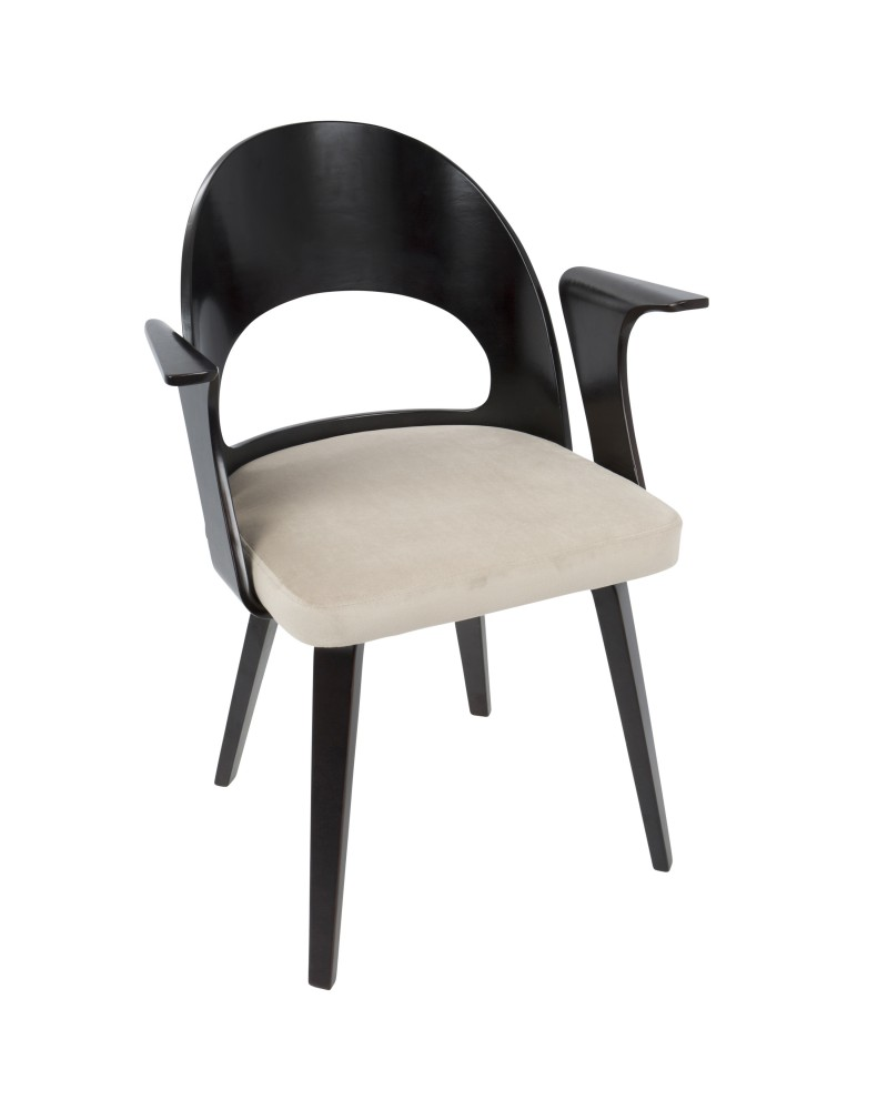 Verino Mid-Century Modern Dining/Accent Chair in Espresso with Light Brown Velvet