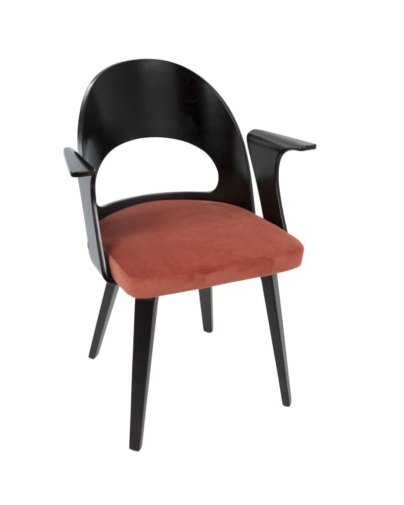 Verino Mid-Century Modern Dining/Accent Chair in Espresso with Orange Velvet