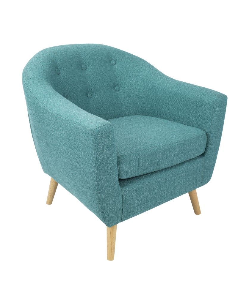 Rockwell Mid Century Modern Accent Chair in Teal