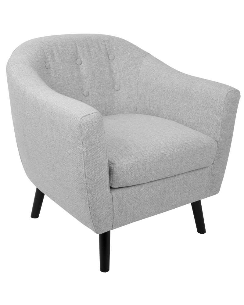 Rockwell Mid-Century Modern Accent Chair with Noise Fabric in Light Grey