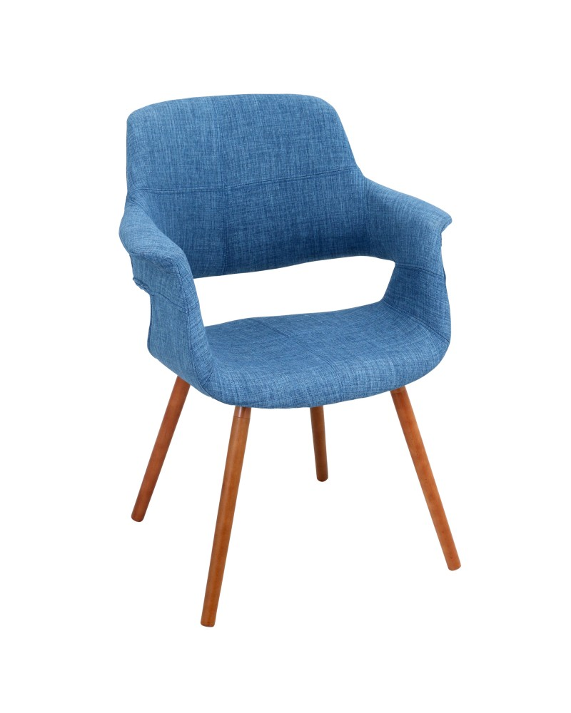 Vintage Flair Mid-Century Modern Chair in Walnut and Blue