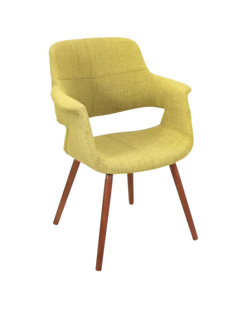 Vintage Flair Mid-Century Modern Chair in Walnut and Green