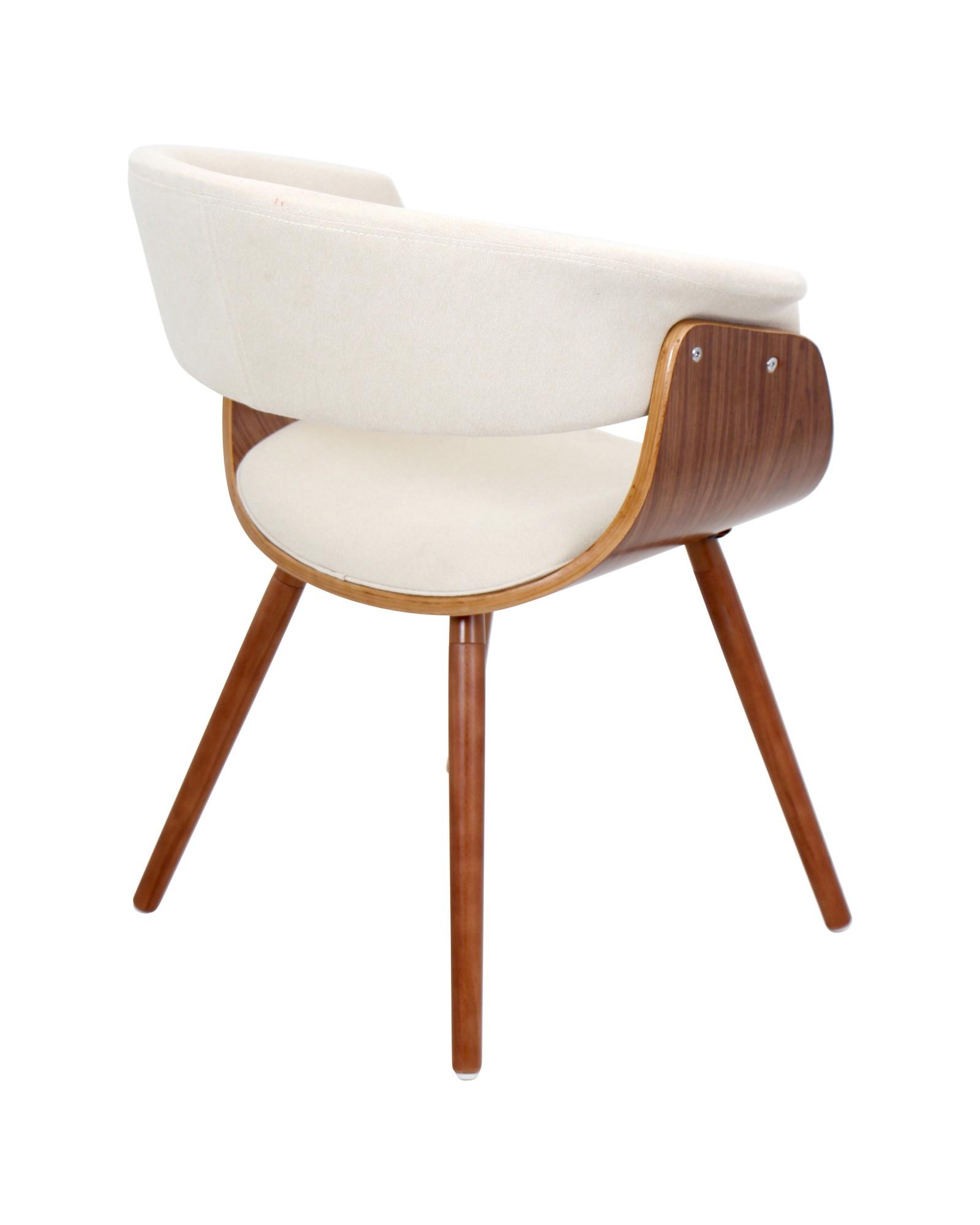 Vintage Mod Mid-Century Modern Chair in Walnut and Cream Fabric
