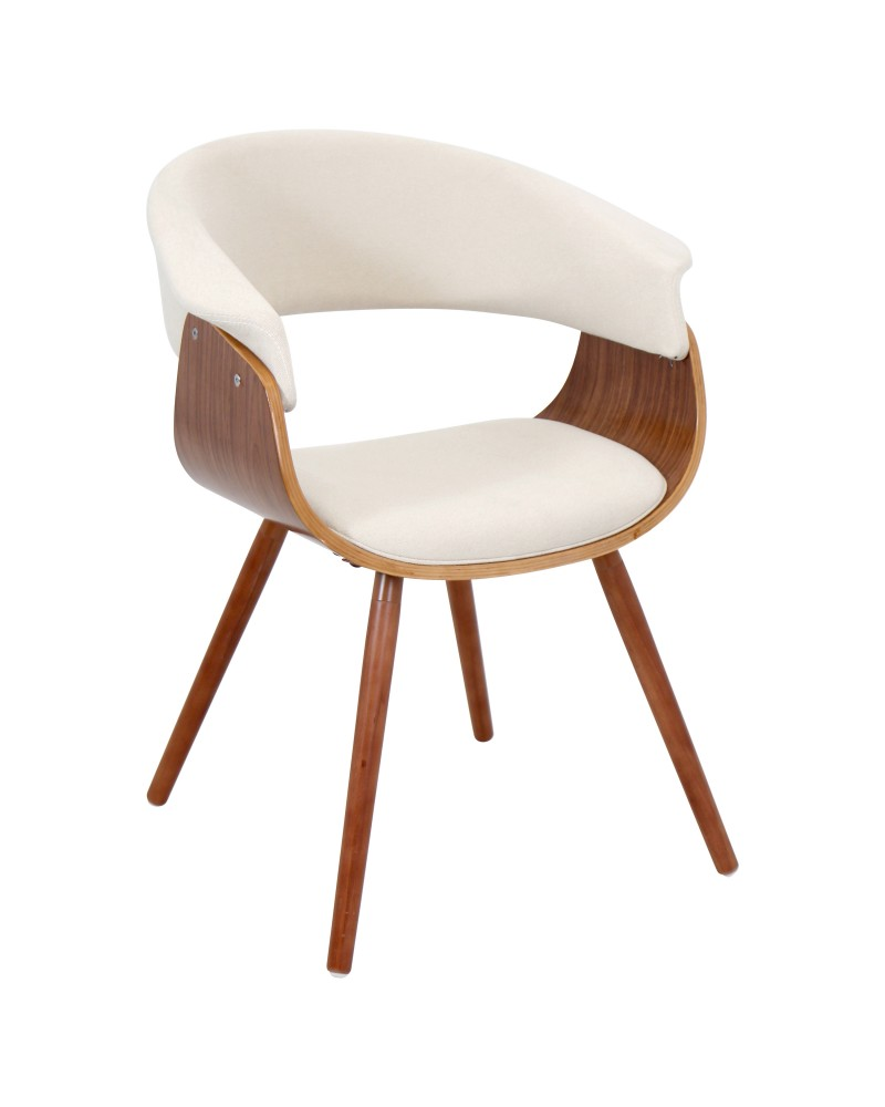 Vintage Mod Mid-Century Modern Chair in Walnut and Cream Fabric
