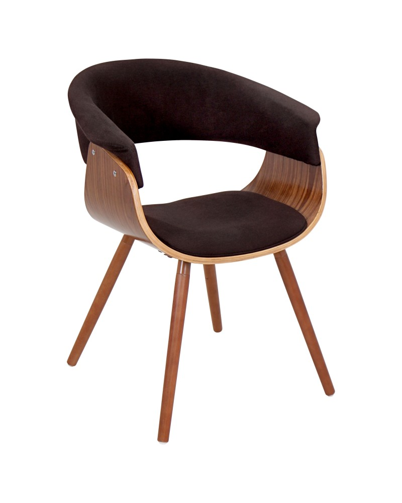 Vintage Mod Mid-century Modern Chair in Walnut and Espresso Fabric