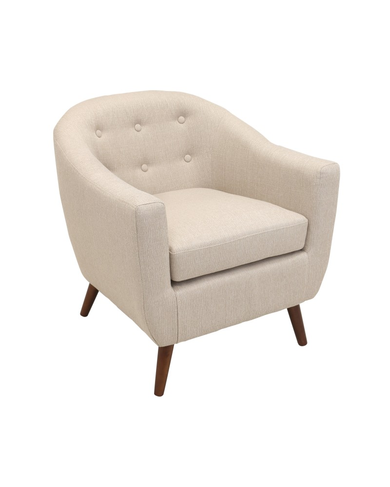 Rockwell Mid Century Modern Accent Chair in Cream