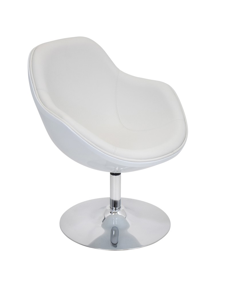 Saddle Brook Chair with Swivel in White