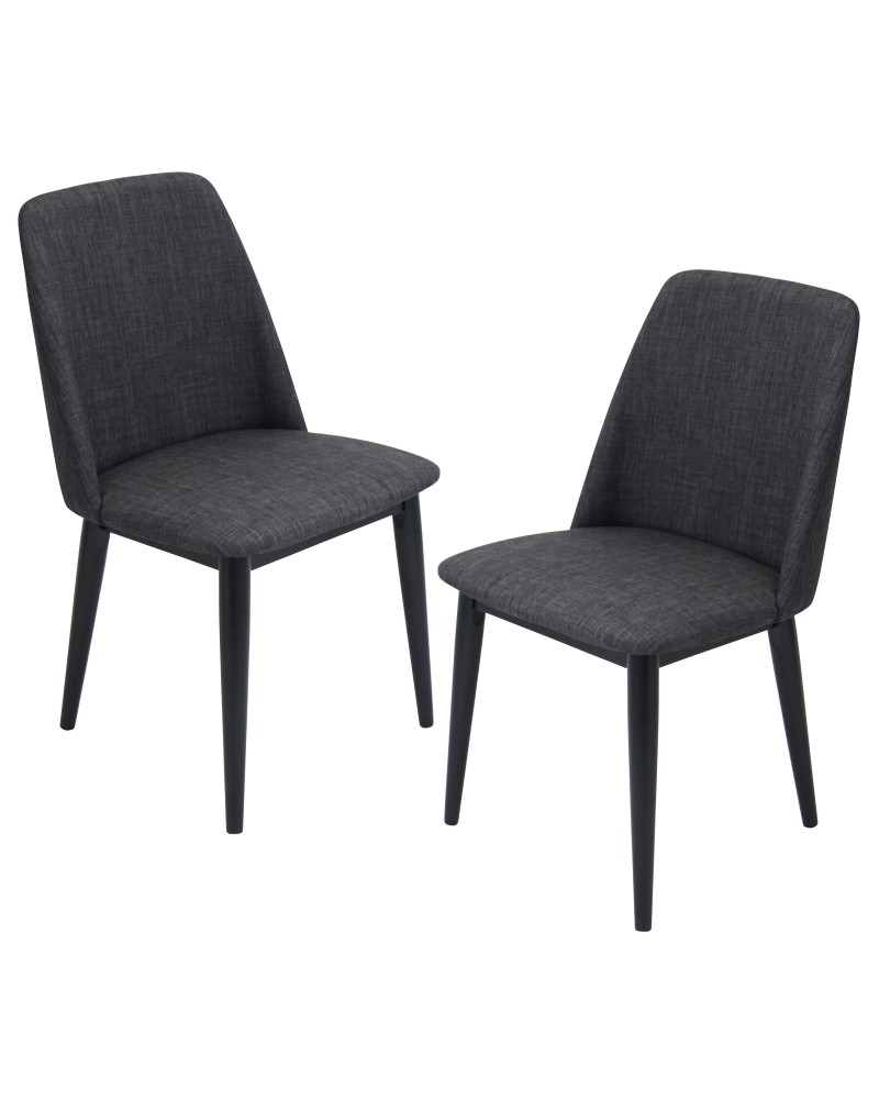 Tintori Contemporary Dining Chair in Charcoal Fabric - Set of 2
