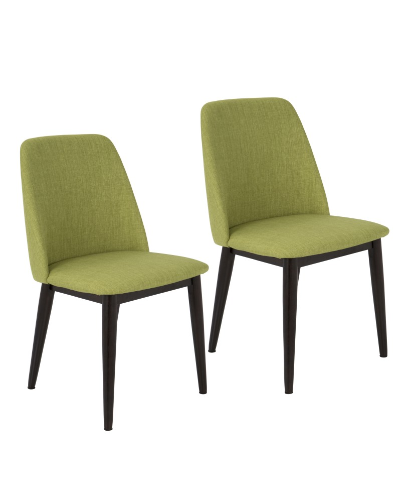 Tintori Contemporary Dining Chair in Green Fabric - Set of 2