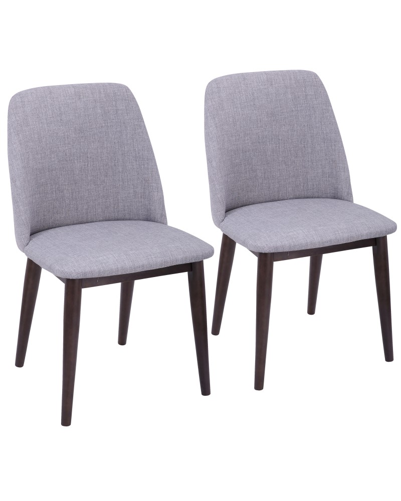 Tintori Contemporary Dining Chair in Walnut and Light Grey Fabric - Set of 2