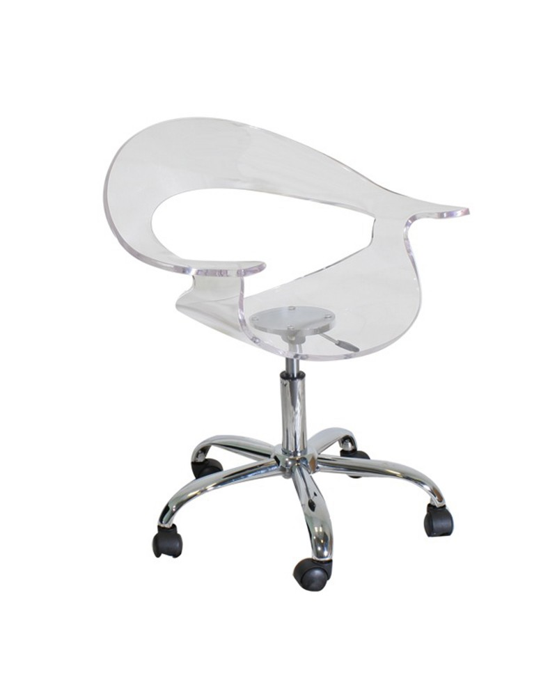 Rumor Contemporary Adjustable Office Chair with Swivel in Clear Acrylic