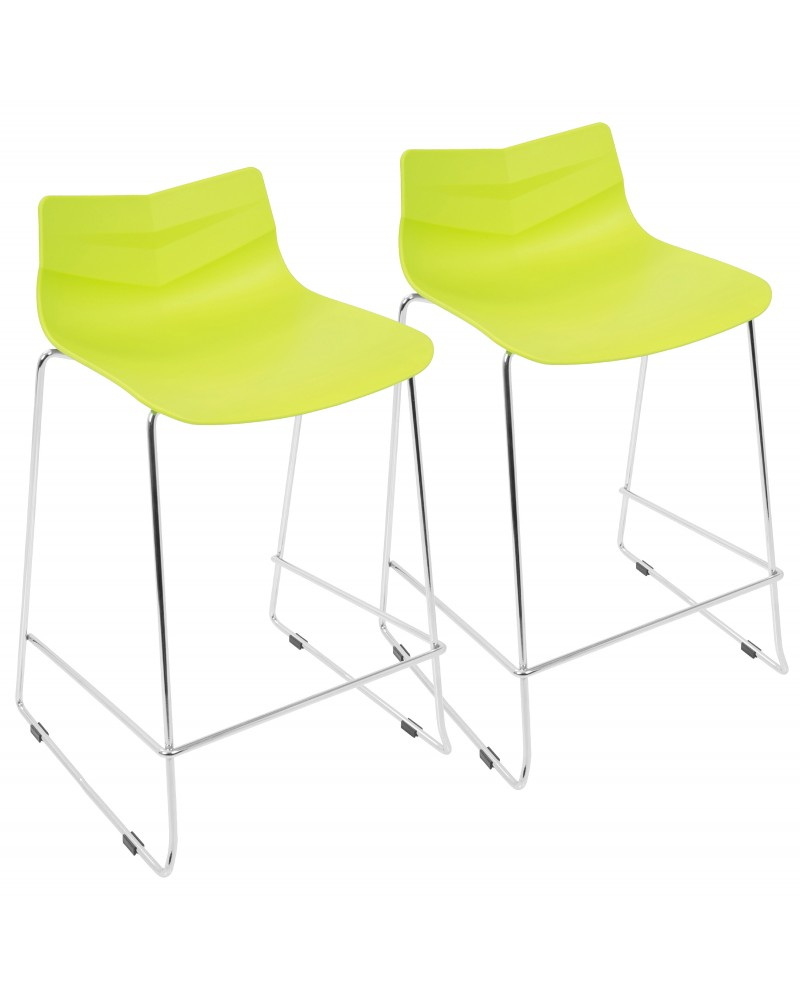 Arrow Contemporary Counter Stool in Lime Green - Set of 2