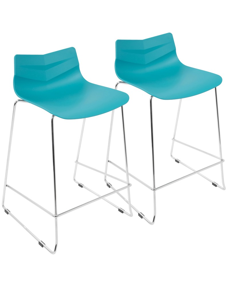 Arrow Contemporary Counter Stool in Turquoise - Set of 2