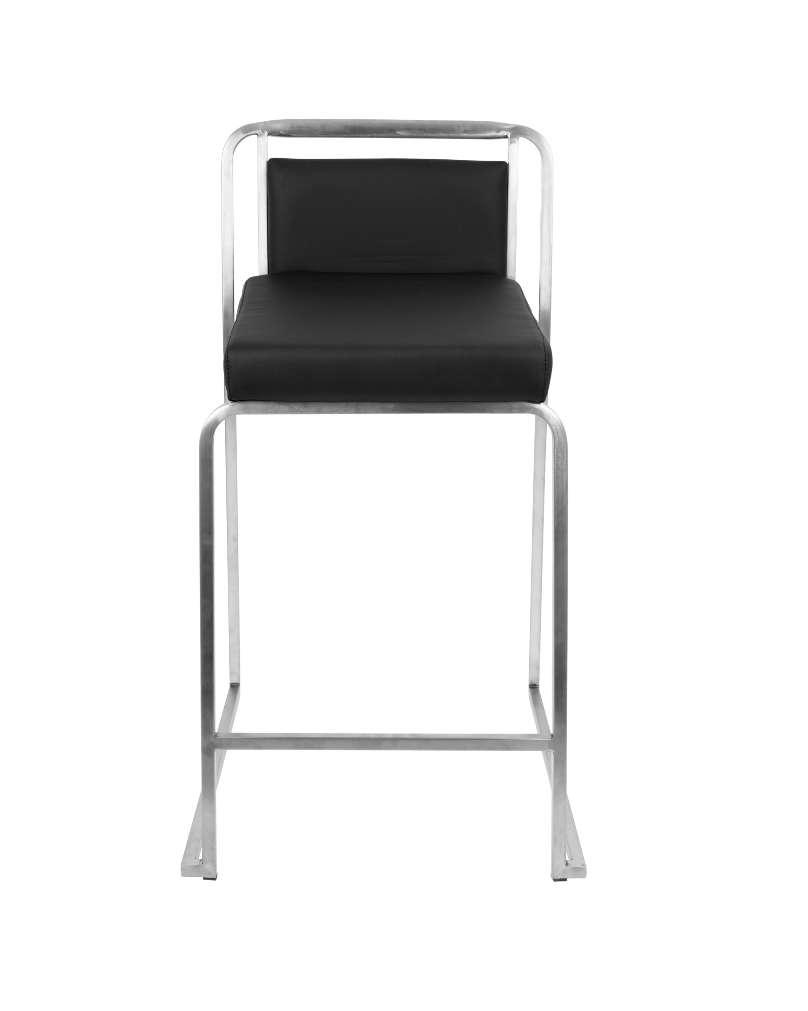 Cascade Contemporary Stackable Counter Stool in Black Faux Leather - Set of 2