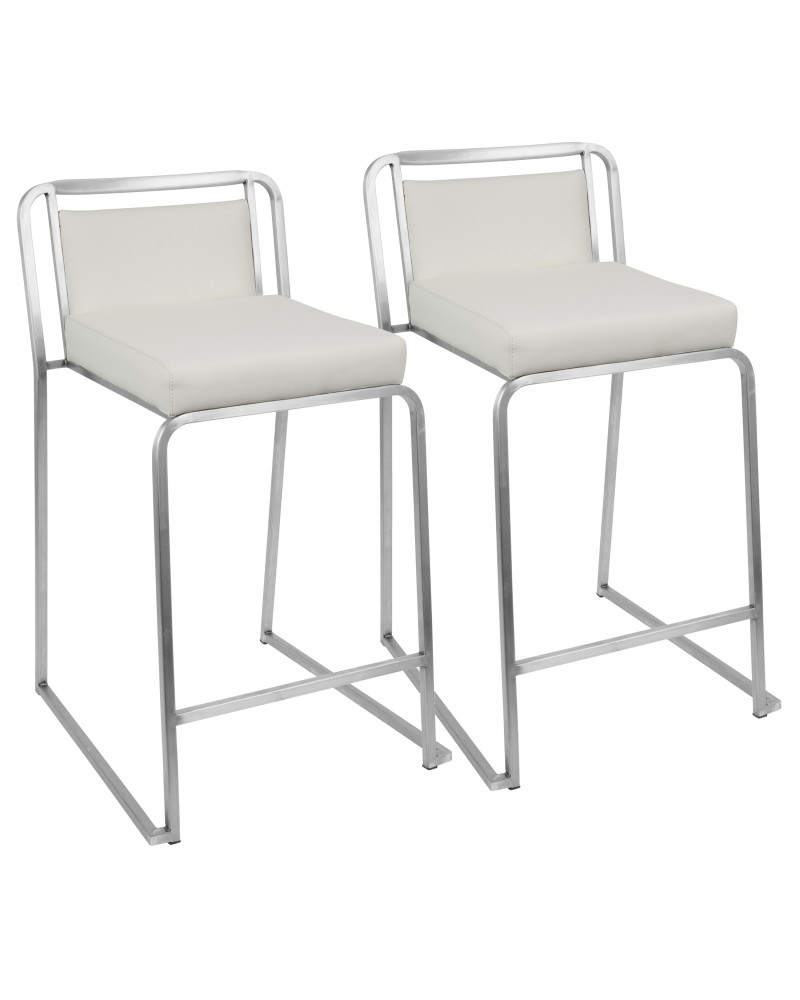 Cascade Contemporary Stackable Counter Stool in White Faux Leather - Set of 2