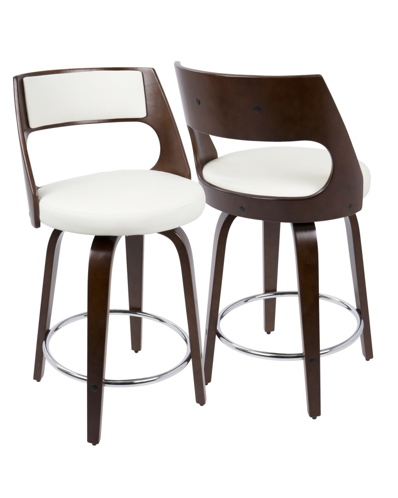 Cecina Mid-Century Modern Counter Stool with Swivel in Cherry And White Faux Leather