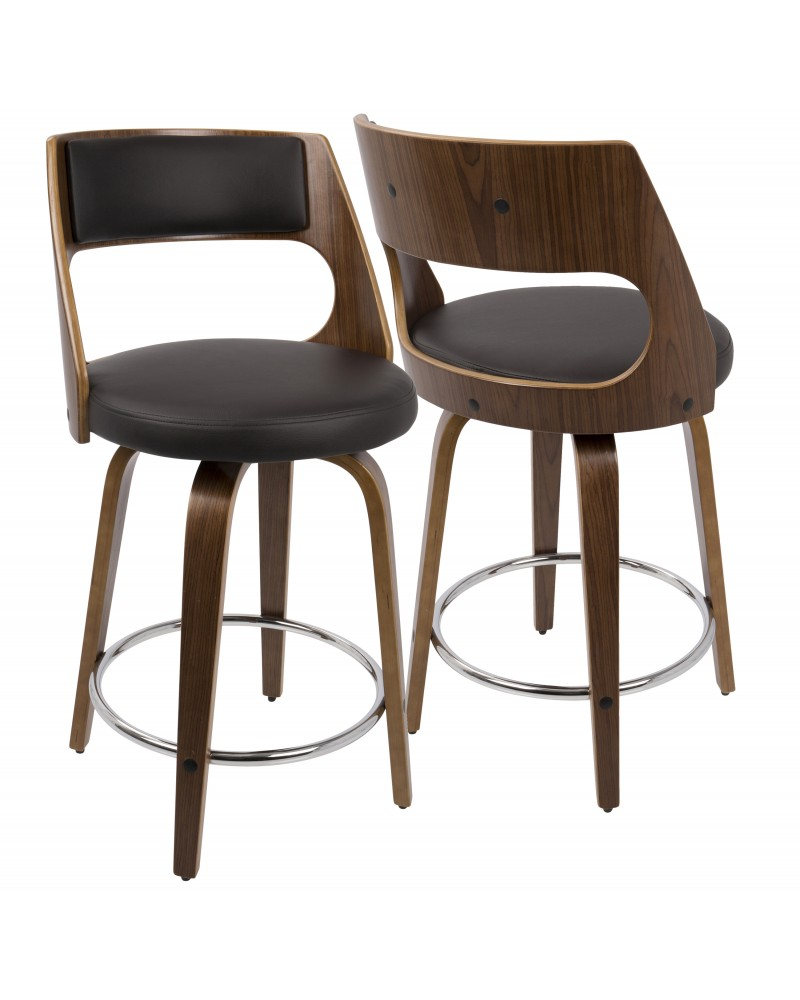 Cecina Mid-Century Modern Counter Stool with Swivel in Walnut And Brown Faux Leather