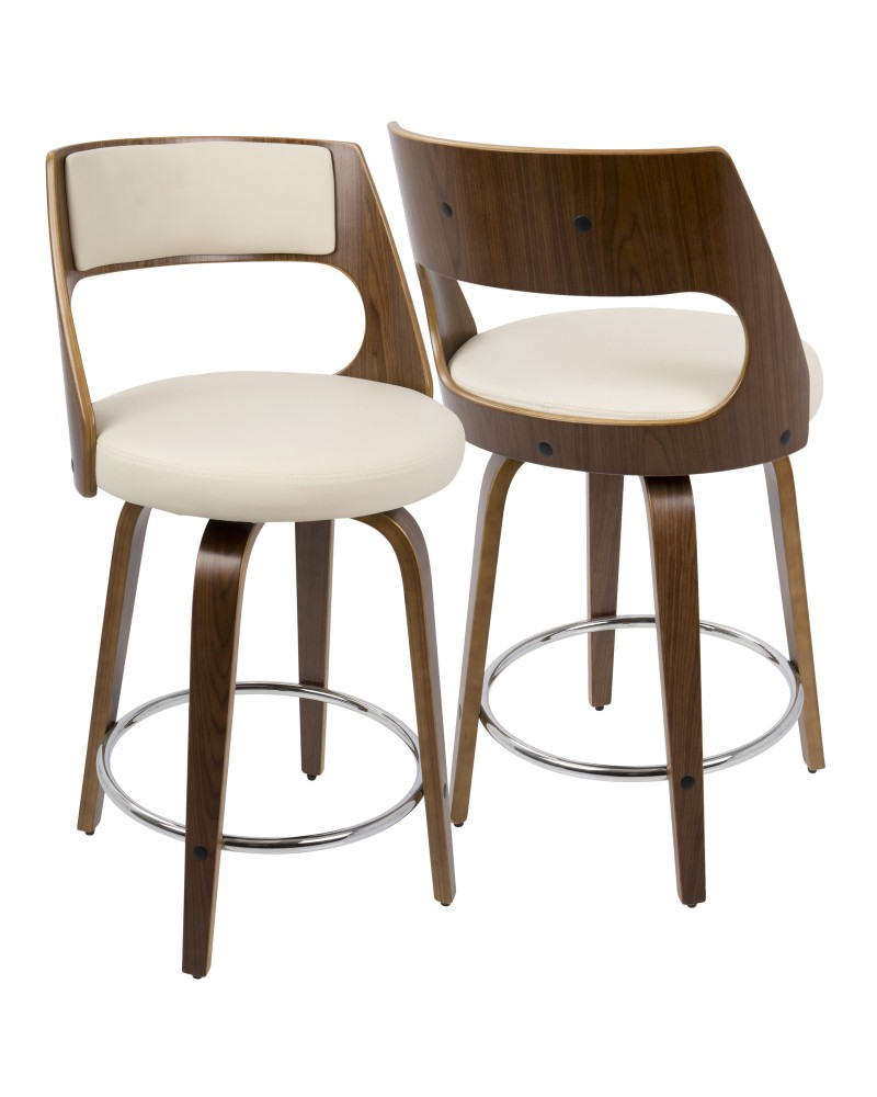 Cecina Mid-Century Modern Counter Stool with Swivel in Walnut And Cream Faux Leather