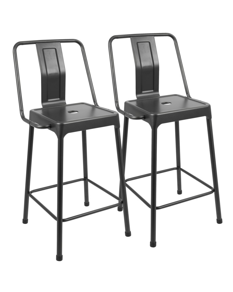 Pair of Industrial Style Energy Counter Stools in Carbon Black Finish