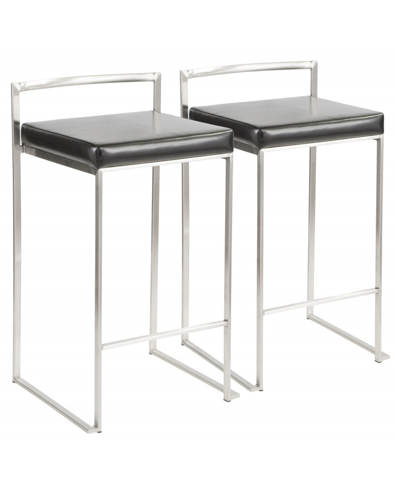 Fuji Contemporary Stackable Counter Stool in Black Faux Leather - Set of 2