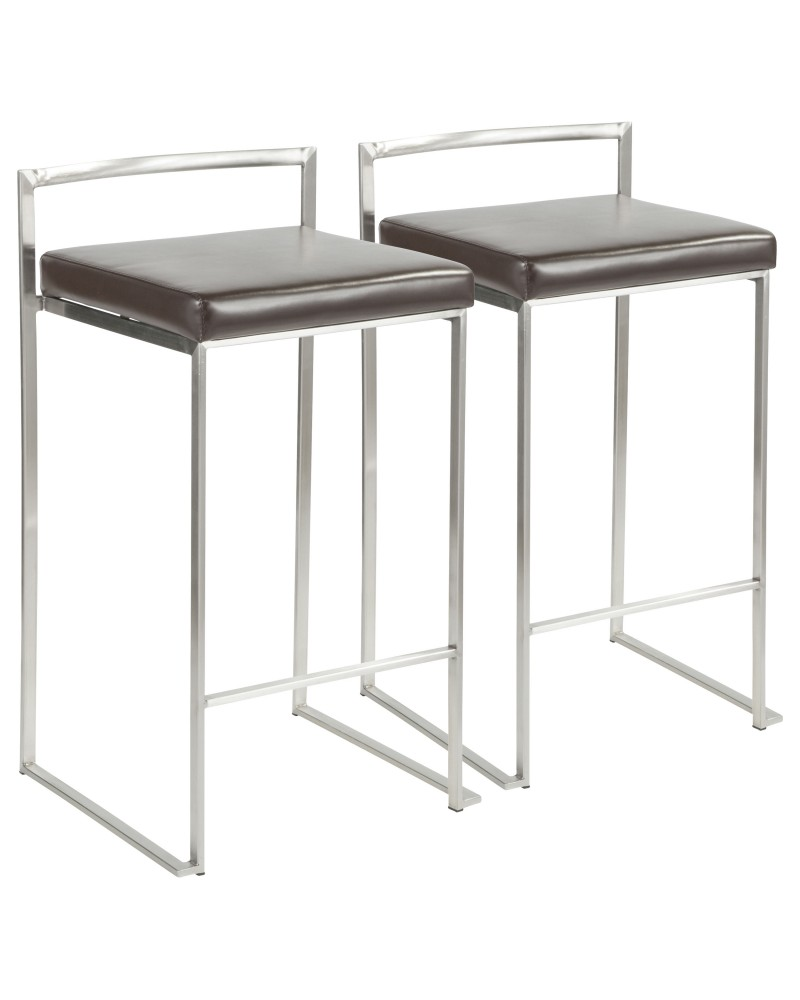 Fuji Contemporary Stackable Counter Stool in Brown Faux Leather - Set of 2