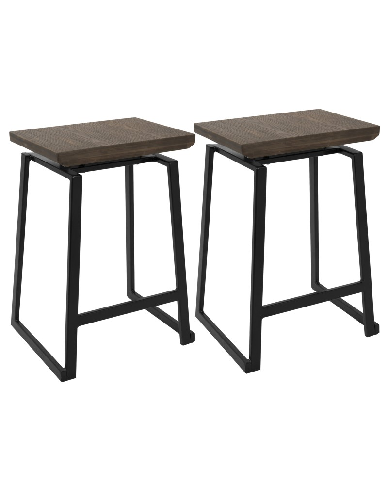Geo Industrial Counter Stool in Black with Brown Wood Seat - Set of 2