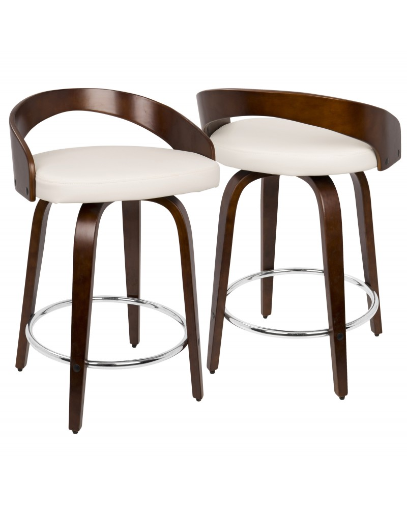 Grotto Mid-Century Modern Counter Stool with Swivel in Cherry with White Faux Leather