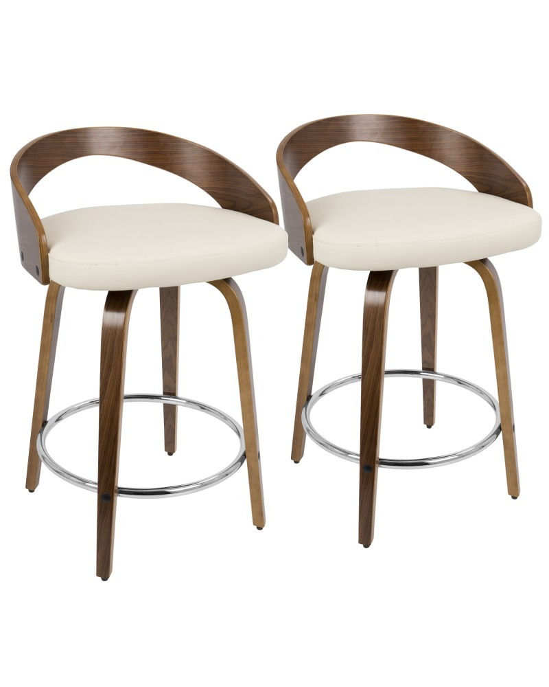 Grotto Mid-Century Modern Counter Stool with Swivel in Walnut with Cream Faux Leather