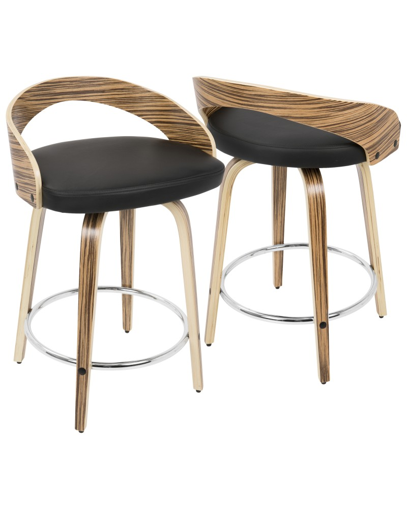 Grotto Mid-Century Modern Counter Stool with Swivel in Zebra Wood and Black Faux Leather