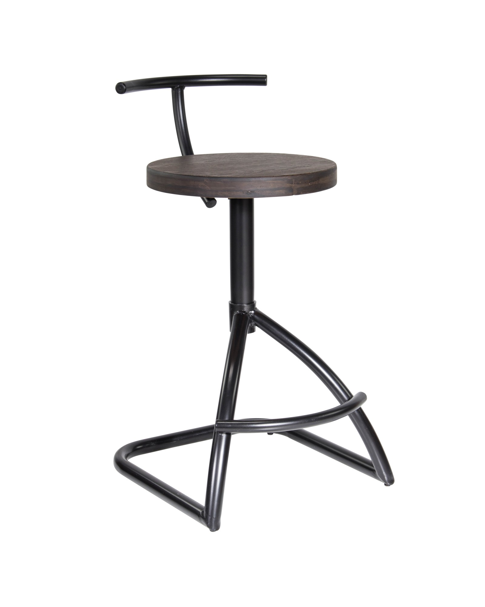 Mantis Industrial Counter Stool in Black Metal with Espresso Wood Seat