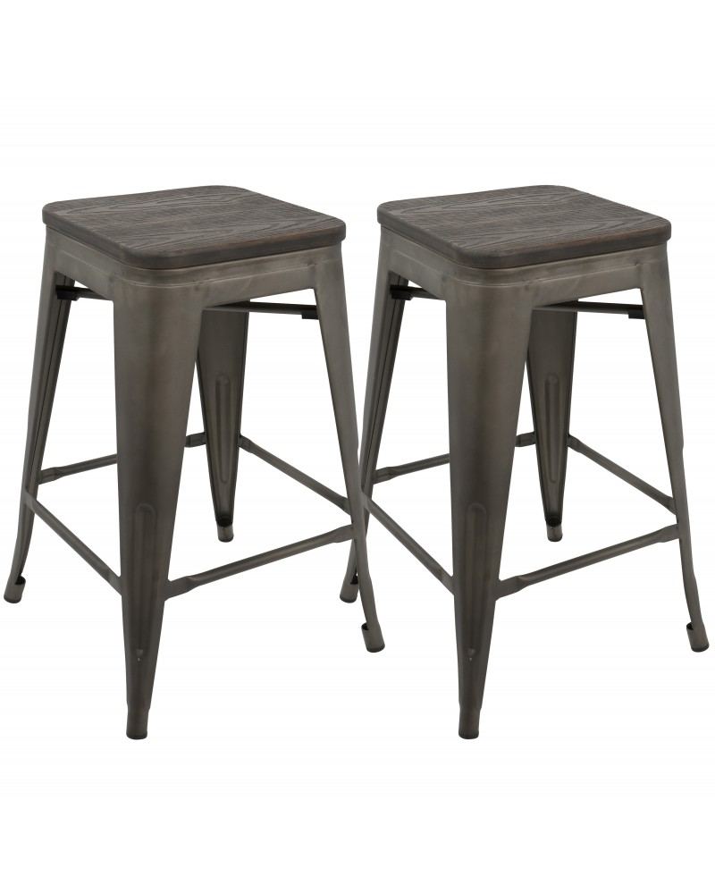 Oregon Industrial Stackable Counter Stool in Antique and Espresso - Set of 2