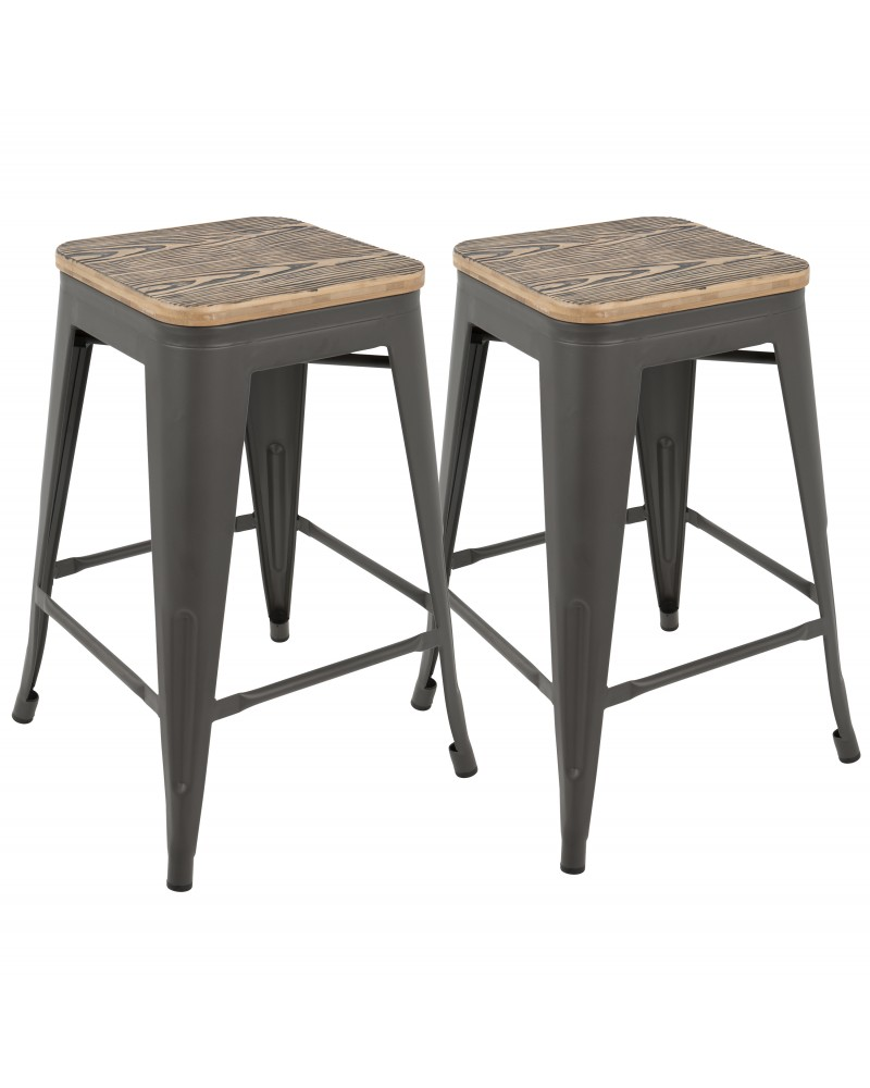Oregon Industrial Stackable Counter Stool in Grey and Brown - Set of 2