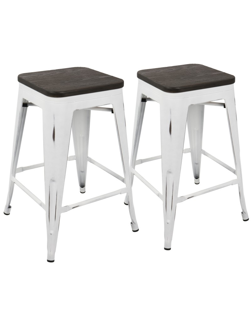 Oregon Industrial Stackable Counter Stool in Vintage White and Espresso - Set of 2
