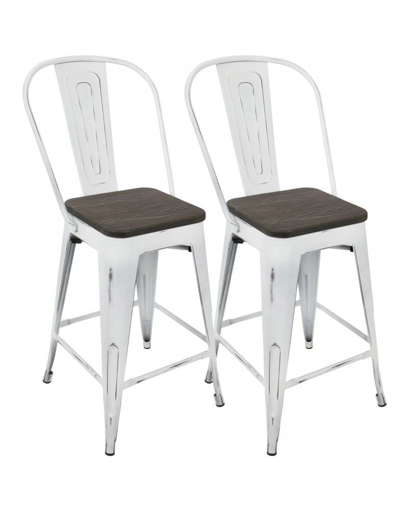Oregon Industrial High Back Counter Stool in Vintage White and Espresso - Set of 2