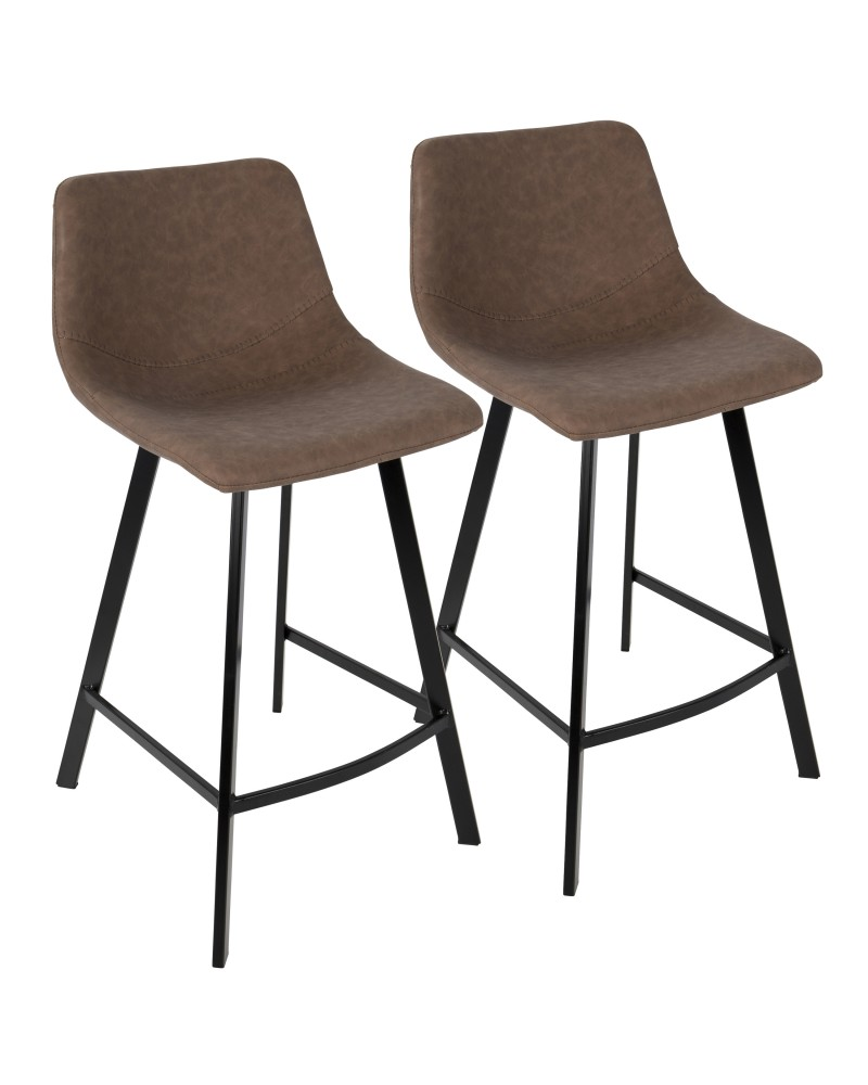 Outlaw Industrial Counter Stool in Black with Brown Faux Leather - Set of 2