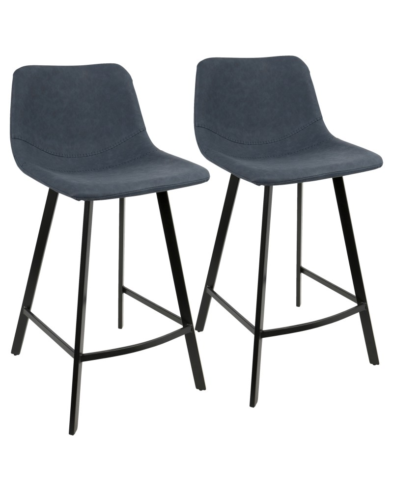 Outlaw Industrial Counter Stool in Black with Blue Faux Leather - Set of 2
