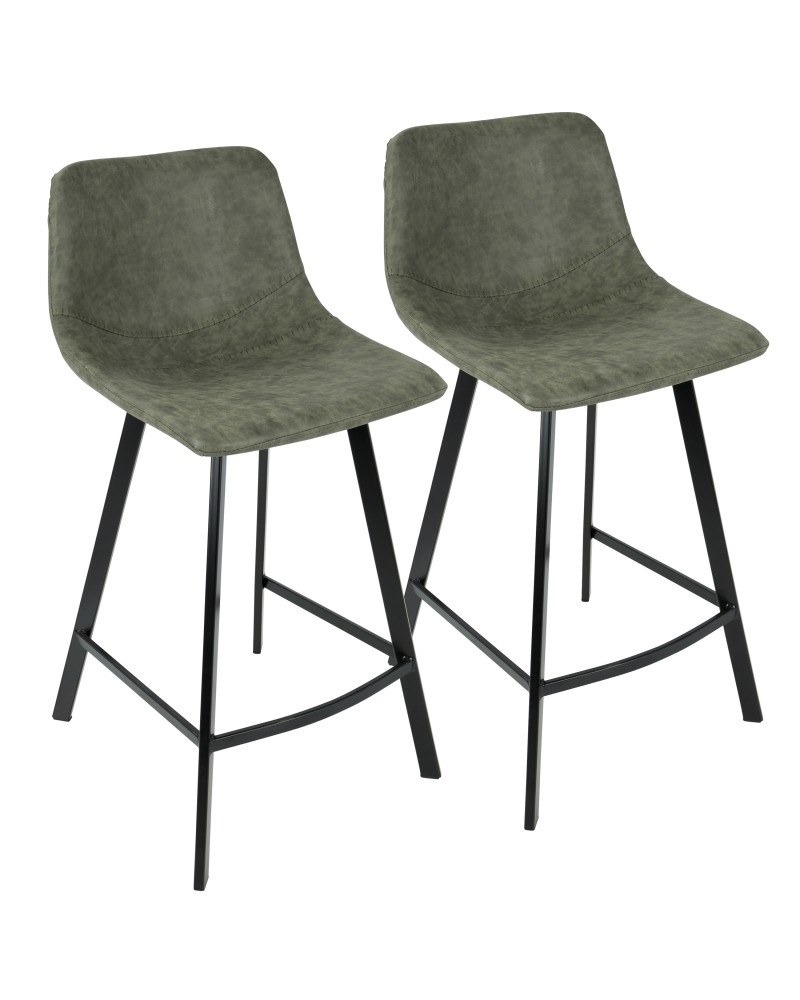 Outlaw Industrial Counter Stool in Black with Green Faux Leather - Set of 2
