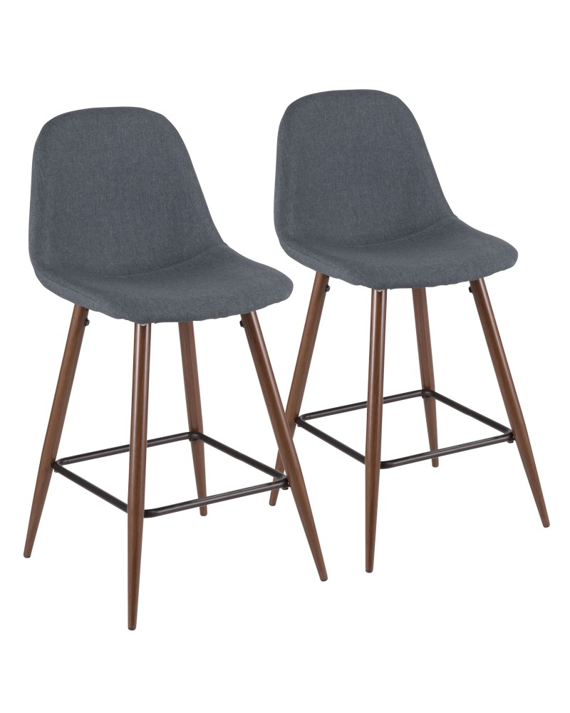 Pebble Mid-Century Modern Counter Stool in Walnut and Blue - Set of 2